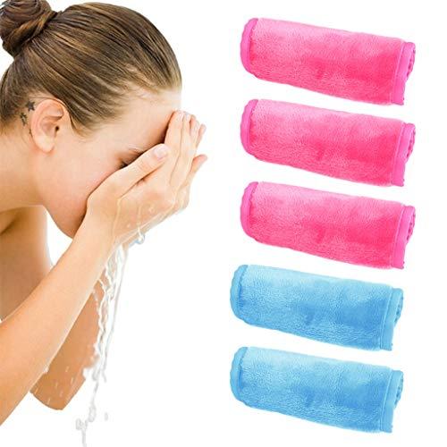 Amycute 5 Toallas de Cara, Toallas Desmaquillantes de Microfibra Reutilizables,Toallitas de Baño para Limpieza Facial,Rosa rojo+azul claro(40 * 17CM)