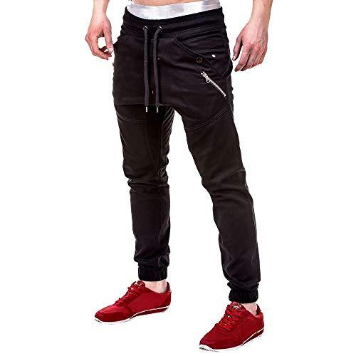 OSYARD Herren Straight Kordelzug Hose Jogginghose Sweatpants Pure Color Trainingshose, Mode Sporthose Reine Farbe Baumwolle Cargo Pants Freitzeithose (3XL, Schwarz)