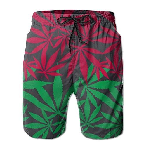 JACK Herren Boardshorts Hanf Cannabisblatt Bunte Nahtlose Vektormuster Badehose L.