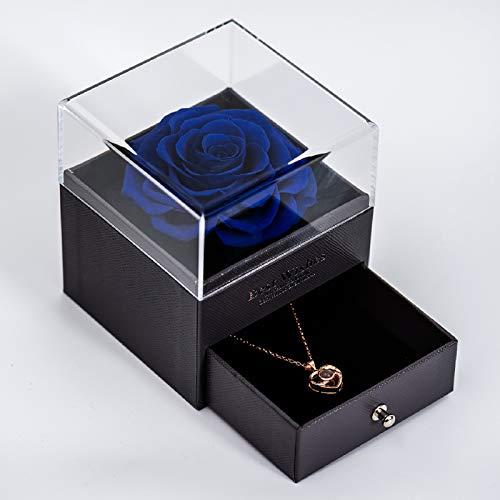 Yamonic echte Rose mit Liebe Sie Halskette Schmuck Geschenkbox-Handmade Eternal Real Rose zum Valentinstag Muttertag Jubiläum Hochzeit Geburtstag romantische Geschenke für Sie, Blau