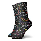 wwoman Calcetines de vestir estampados para hombres y mujeres Matemáticas Educatio Coloridos Divertidos Novedad Crazy Crew Calcetines 30 cm