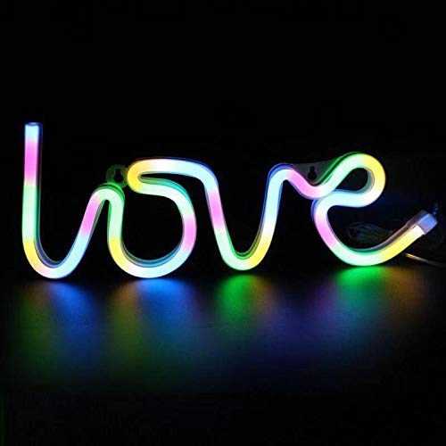 Awestuffs Love Neon LED Light Sign for Room Decoration Accessory, Table Decoration, Gifts, Night Light (Battery Operated) (Warm White (Battery))