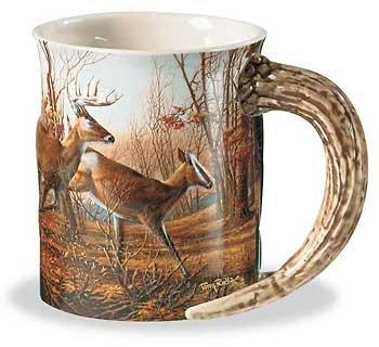 Wild Wings Sculpted Mugs - Autumn Run Antler Handle 16oz.