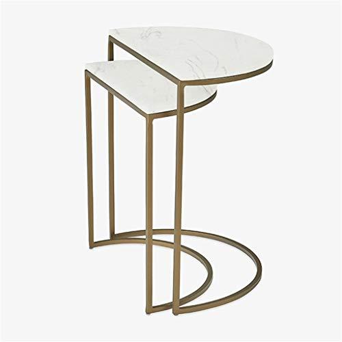 ZWeiD Mesa de mármol, semicírculo Blanca Escritorio del Metal de café Mesa de la Sala Habitación Hotel Decorativo Puesto de Flores Un Conjunto de Dos Mesas para lámparas