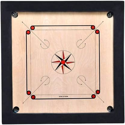 US Creation 3 inch Border Carrom Board with Free Coins, Striker and Carrom Powder (36x36 inch)