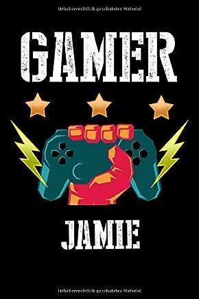 Gamer Jamie: Kariertes Notizbuch mit 5x5 Karomuster für deinen personalisierten Vornamen