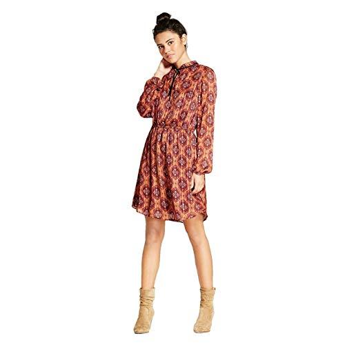Xhilaration Women's Velvet Accents Tie-Neck Metallic Thread Dress Copper M