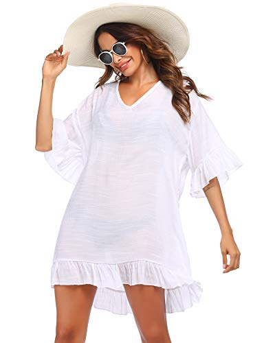 Strandponcho Tunika Damen Strandkleid Bikini Cover Up Strandurlaub Badeanzug Pareos Strand Kleider V-Ausschnitt Strandrock Beach Kleid Strandkleider Chiffon Loose für Sommer Weiß XXL