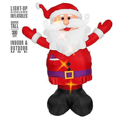 Widmann 75033 Dekoration uppblåsbar lysande jultomten klos, flerfärgad
