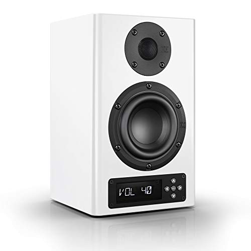 Nubert nuPro A-100 Regallautsprecher | Lautsprecher für Stereo & Musikgenuss | Schreibtischlautsprecher für Homeoffice | aktive Regalbox mit 2 Wege Technik | Kompaktlautsprecher Weiß | 1 Stück