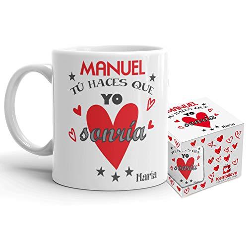 Kembilove Taza de Café Pareja – Taza de Desayuno Tú Haces Que yo Sonría con Nombre Personalizado – Taza de Café y Té para Enamorados – Taza de Cerámica Impresa – Tazas para San Valentín