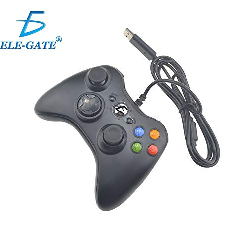 China Control Gamepad Xbox 360 Alambrico USB Pc Windows10 Ele-Gate (negro)