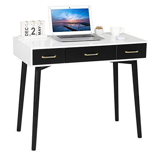 Tiptiper Schreibtisch mit 3 Schubladen, Arbeitstisch Bürotisch für kleinen Raum, Modern Schreibtisch für Studierende, Computertisch mit Eichenbeinen, Weiß und Schwarz