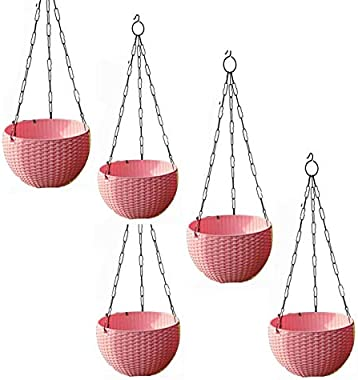 Airex Plastic Hanging pots for Plants and Flowers for Garden Balcony dŽcor -Pack of 5, Pink