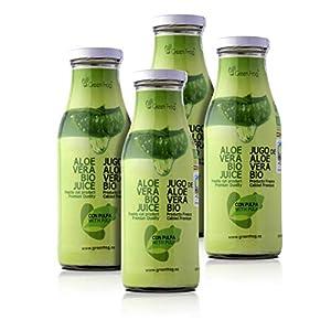 Green Frog Jugo de Aloe Vera Bio con Pulpa Aloe Vera Fresco para Beber Ecológico Elaborado en España Pack de 4 Botellas, 4x500 ml
