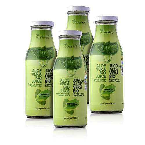 Green Frog Jugo de Aloe Vera Bio con Pulpa - Pack de 4 Botellas - Aloe Vera 99,8%
