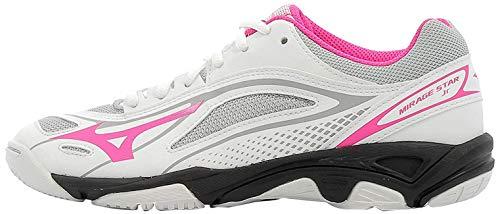 Mizuno Unisex-Kinder Mirage Star 2 Jr Sneakers, Mehrfarbig (White/Pink Glo/Black 001), 34.5 EU