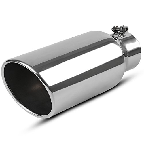 AUTOSAVER88 4 Inch Inlet Exhaust Tip, 4 x 6 x 15 Inch Chrome Polished Stainless Steel Diesel Exhaust Tailpipe Tip, Clamp/Bolt On Design.
