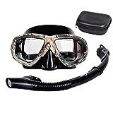 JUYHTY Juego de Snorkel Dry Top, máscara de Buceo antivaho y antifugas, Vidrio Templado y Campo de visión panorámica de 180 ° Gafas de Snorkel para Adultos y niños,2 Piece Set