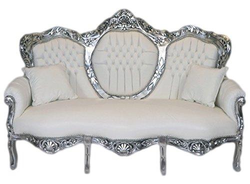 Barock 3er Sofa King Weiß Lederoptik/Silber - Wohnzimmer Couch Möbel Lounge
