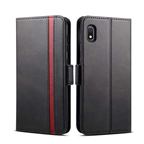 Rssviss Hülle für Samsung Galaxy A10 Handyhülle mit Kartenfach, Samsung M10 Handy Schutzhülle Galaxy A10 Klapphülle, Lederhülle mit Standfunktion, Ledertasche für Samsung A10/M10 6,2 Zoll Schwarz