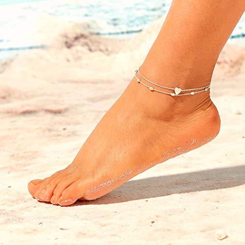 Jovono Boho con cuentas tobilleras de moda de múltiples capas del corazón pulseras de tobillera Beach Foot Jewelry para mujeres y niñas (plata)