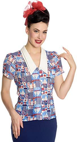 Hell Bunny Damen Oberteil 50s Sailor Chiffon Vintage Bluse (2XL, Mehrfarbig Plus Size)