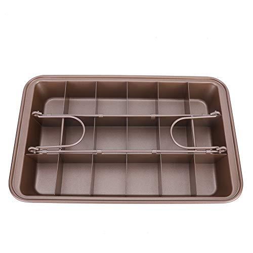 Brownie Pan, Brownie Copper antiaderente Brownie Vassoio da forno con divisori Bakeware in acciaio al carbonio per cottura al forno Rapido trasferimento di calore 1,9 pollici