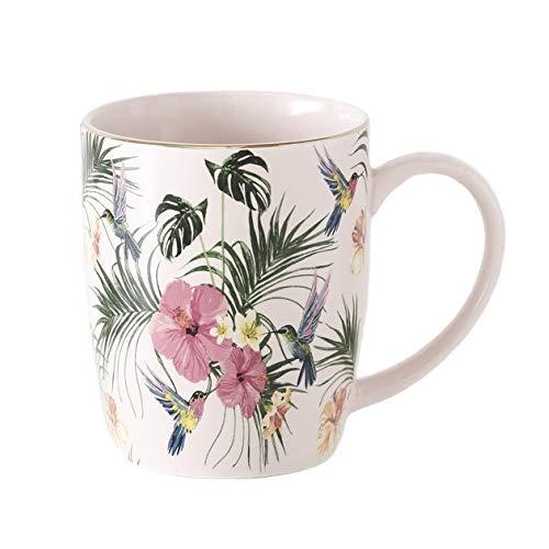 Taza Café Té de Porcelana Exotico Tropical Hibisco Colibri con Motivos Hojas Alto 10 cm 330...