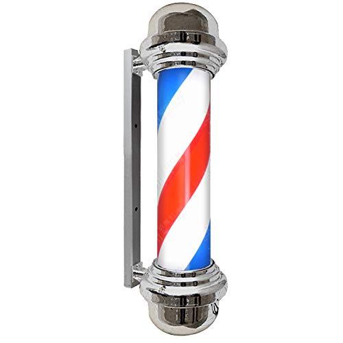 Poteau de barbier Salon de beauté LED Signe Lumière Barbershop Turning Light 90cm Galvanoplastie Coiffure Cylindrique Argent Lumière 110-220v,5