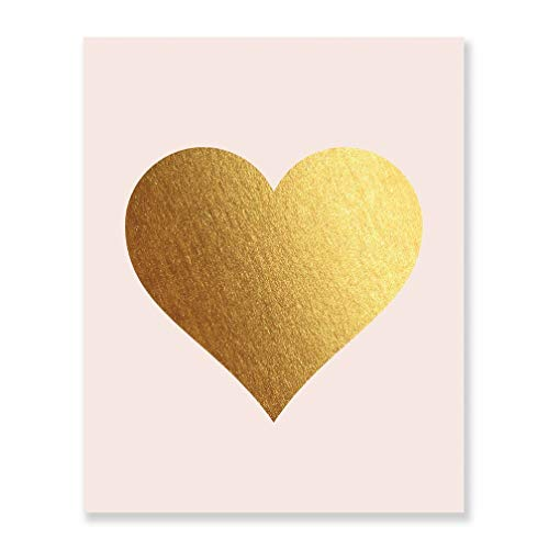Gold Foil Heart Print Blush Pink Wall Art Modern Heart Decor Love Nursery Room Poster 8 inches x 10 inches A32