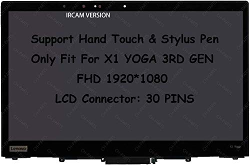 14' FHD 1920X1080 LCD Touch Screen Digitizer Replacement Assembly with Bezel and Board For Lenovo ThinkPad X1 Yoga 3rd Gen 20LD 20LE 20LF 20LG (IRCAM)