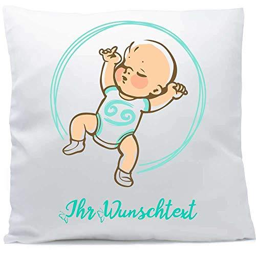 Kissen mit Namen Sternzeichen Krebs Baby Datum 40x40 cm inkl. Füllung Kuschelkissen Wunschtext, Kissen Farbe:Vorderseite weiß/RS hellblau