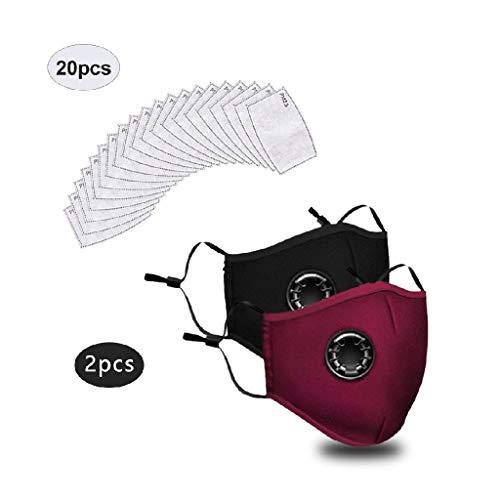 2 STK Anti-Staub mundschutz waschbar mit 20 Filter, Atmungsaktive gesichtsschutz Wiederverwendbare Gesichtsabdeckung für Erwachsene für Camping,Laufen, Radfahren