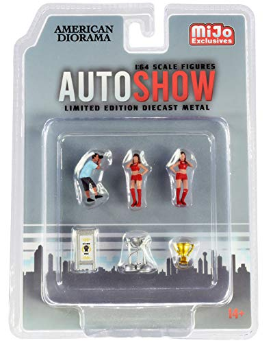 Auto Show Diecast Set of 6 Pieces (3 Figurines and 3 Accessories) for 1/64 Scale Models by American Diorama 38411