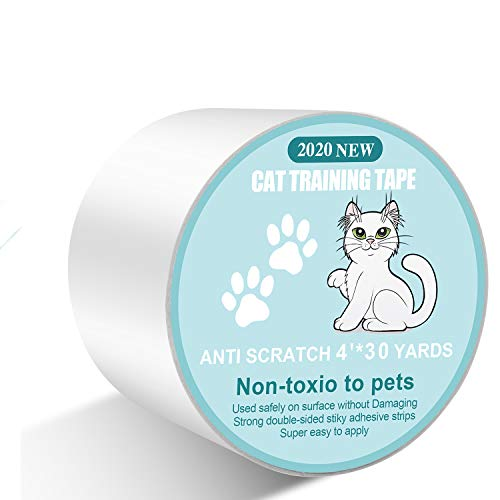 4' X 30 Yards Anti Cat Scratch Deterrent Tape - Sticky Paws Tape for Cats,100% Transparent cat Double Sided Tape,Cat Training Tape Furniture Protectors for Couch,Sofa,Door