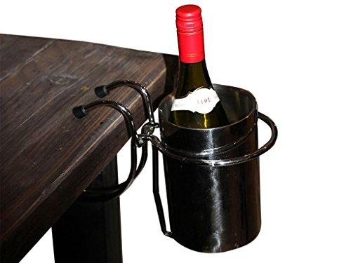 Flaschenkühler mit Tischhalterung - Edelstahl - Sektkühler - Weinkühler - Getränkekühler - Kühler für Wasser, Wein, Sekt, Champagner, Saft - Sektkübel - Eiskübel - Eiseimer