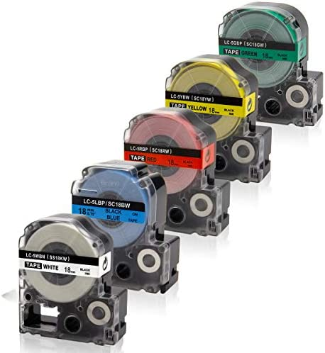 Absonic Compatible Label Tape Replacement for LK 5WBN LC 5WBN9 LK 5LBP LK 5RBP LK 5YBW LK 5GBP product image