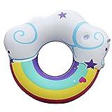 lulalula Anillo de natación inflable con forma de nube creativa flotador de piscina con un portavasos de verano de playa de juguete para adultos y niños