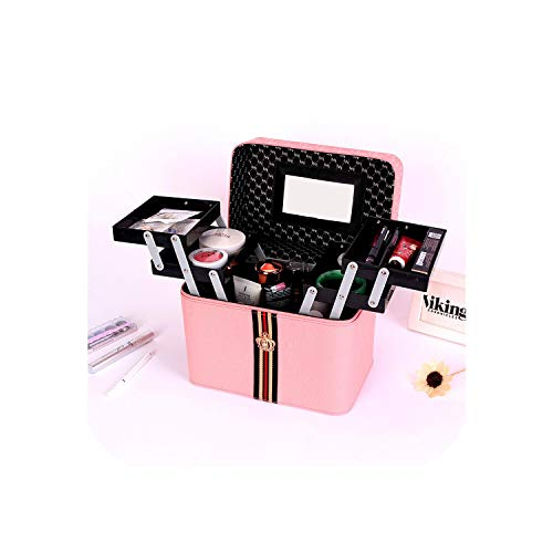 Organisateur de maquillage Large | Organisateur de maquillage multicouche portable avec poignée étanche multifonctionnel porte-cosmétiques rouge à lèvres vernis à ongles boîte à bijoux-rose-