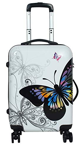 Tramp & Badger Polycarbonate Hard Trolley Bag (Anuk_Butterfly-24_Wht_dr_White)