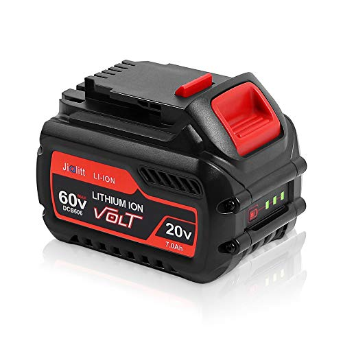 Jialitt DCB606 20V/60V 7.0Ah Replacement Battery for Dewalt Flexvolt 20V/60V/120V MAX DCB606 DCB606-2 DCB609 DCB612 Cordless Power Tools