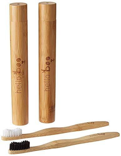 Juego de cepillos de dientes de bambú con estuche de viaje | Pack de 2 juegos de cepillos de dientes biodegradables | Bambú Moso ecológico ecológico con asas ergonómicas y cerdas de nylon medianas