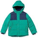 Amazon Essentials Kids Boys Heavy-Weight Hooded Puffer Jackets Coats, Green/Navy Colorblock, Medium