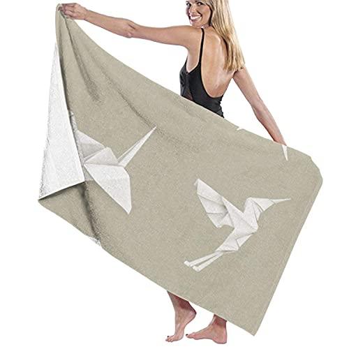 Origami - Juego de toallas de playa absorbentes, ligeras, para deportes, viajes, piscina, playa, gimnasio, baño, 80 x 130 cm