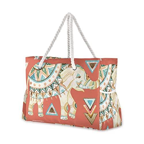Bolsas de playa grandes Totes de lona, bolso de hombro indio, bohemio, mandala elefante, resistente al agua, para gimnasio, viajes diarios