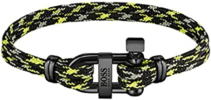 HUGO BOSS MEN'S IONIC PLATED BLACK STEEL & BLACK AND GREEN CORD BRACELETS -1580061M