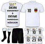 DE-Fanshop Deutschland Trikot Set 2021 mit Hose & Stutzen GRATIS Wunschname + Nummer im EM WM Weiss Typ #DE1ths - Geschenke für Kinder Erw. Jungen Baby Fußball T-Shirt Bedrucken