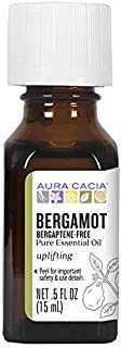 Aura Cacia 100% Pure Bergaptene-Free Bergamot Essential Oil | GC/MS Tested for Purity | 15 ml (0.5 fl. oz.) | Citrus bergamia