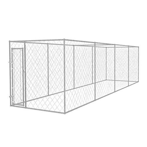 vidaXL Perrera de Exterior 8x2x2 m Acero Galvanizado 16 m² Jaula Perros Macota